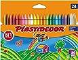 BIC Kids Plastidecor- Blíster de 24 unidades, ceras de colorear para niños - colores vivos surtidos, ideal para actividades creativas en casa y colegio
