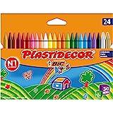 BIC Kids Plastidecor- Blíster de 24 unidades, ceras de colorear para niños - colores vivos surtidos, ideal para…