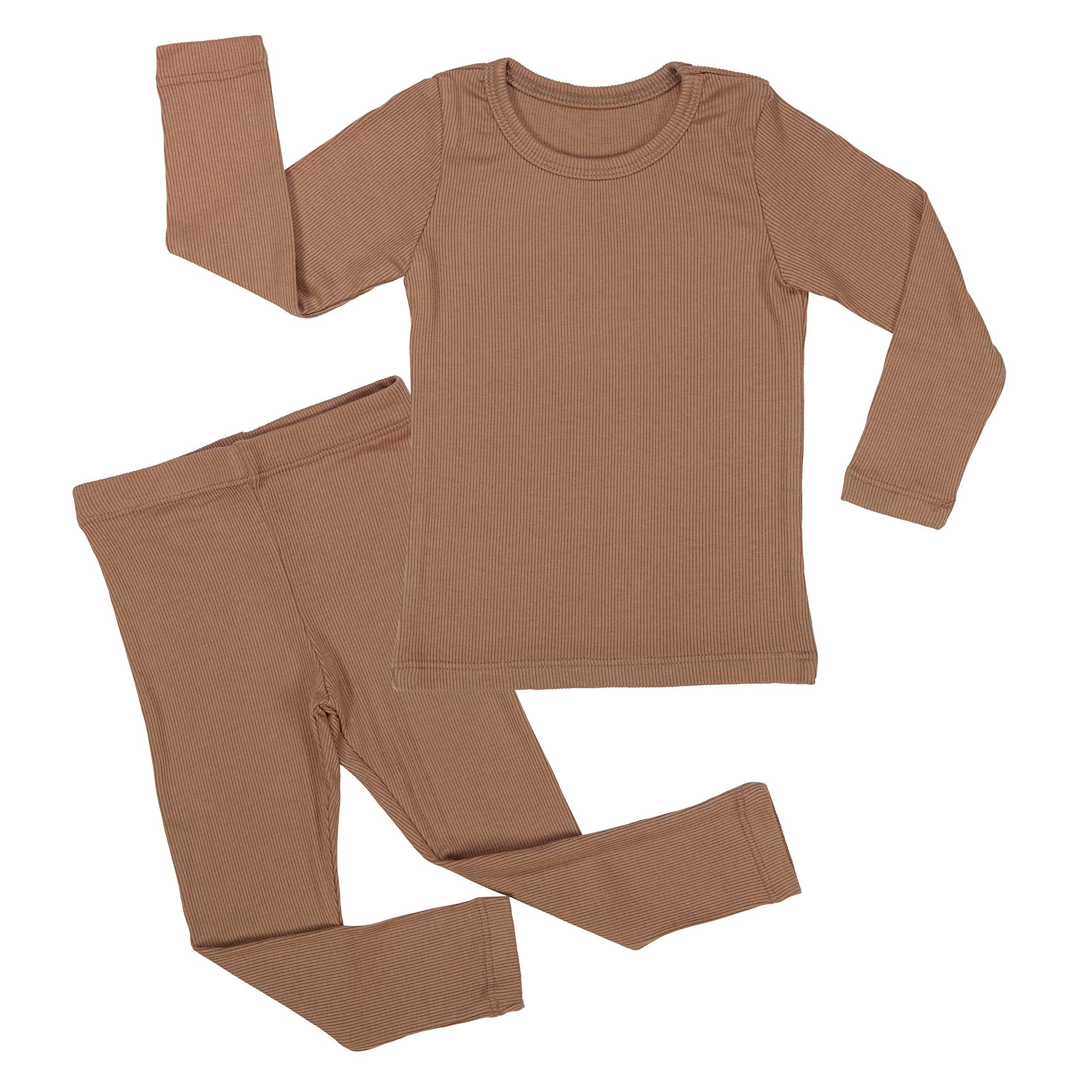 AVAUMA Baby Boy Girl Long Sleeve Ribbed Pajamas Set Snug-Fit Fall Winter Pjs Sleepwear Kids Toddler (JL / 7T - 8T, Camel(L))