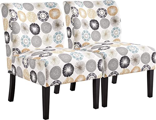YAHEETECH Fabric Armless Accent Chair Comfy Dining Chair Casual Upholstered Single Sofa Side Chair