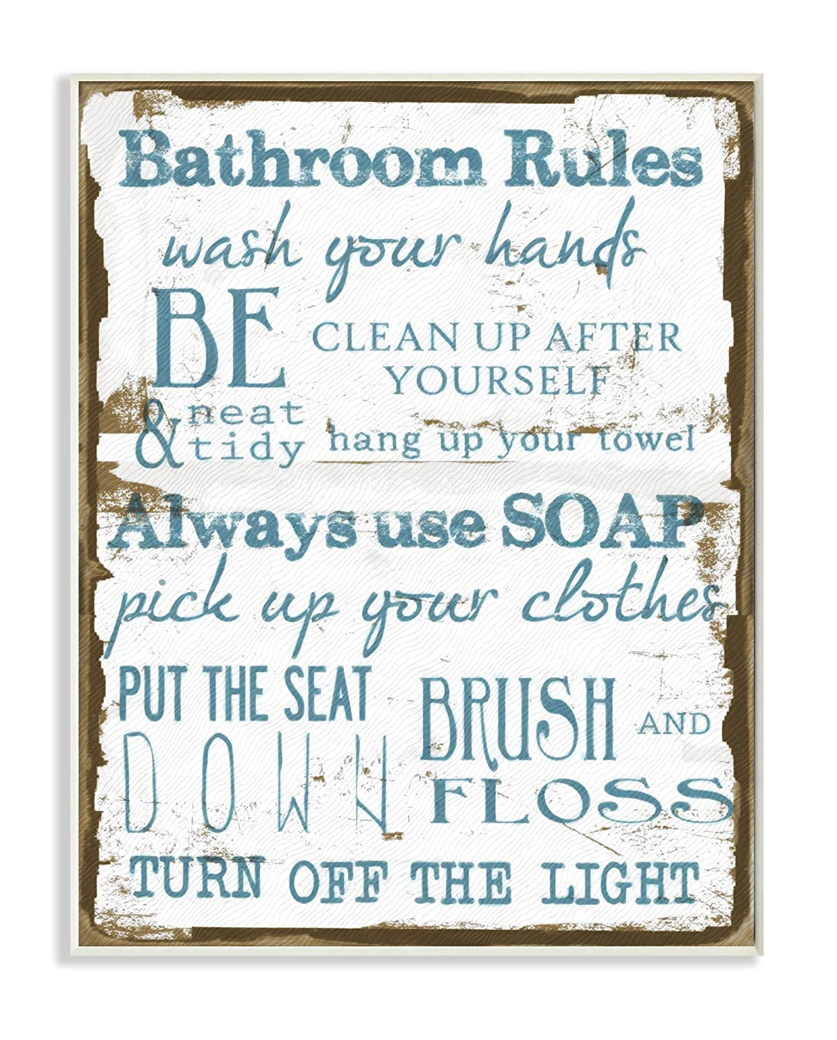 Stupell Home Décor Brown and Blue Classic Bathroom Rules Wall Plaque Art, 10 x 0.5 x 15, Proudly Made in USA