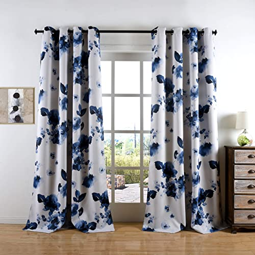 Taisier Home 84 Inch Grommet Room Darkening Window Curtain Drapes, Chinese Traditional Ink Painting Stylized Leaves and Flower,Artwork,Deep Blue Print Curtains for Living Room Bedroom and Nursery