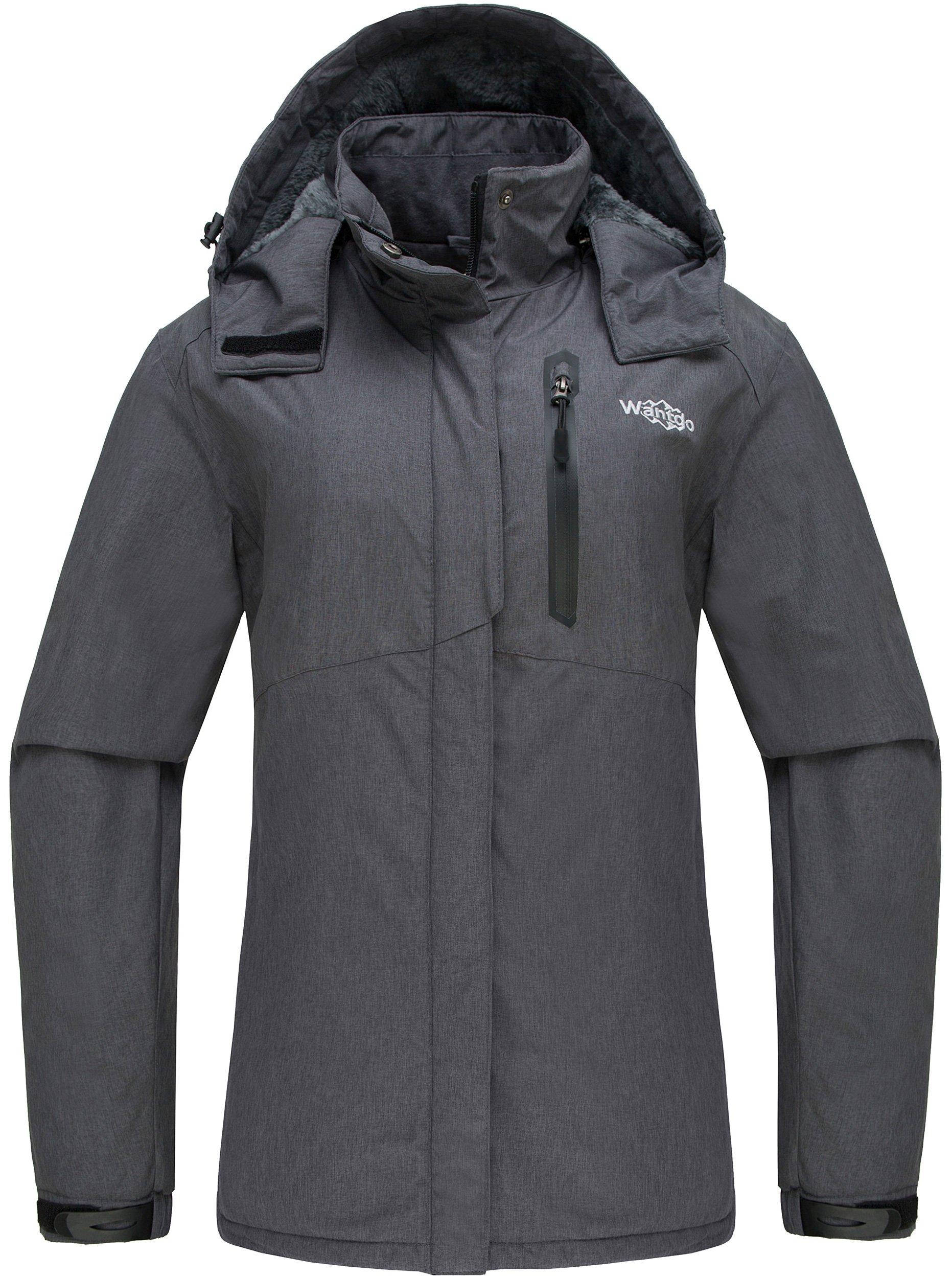 Wantdo Women's Detachable Hood Waterproof Fleece Lined Parka Windproof Ski Jacket Grey US Medium