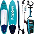 """Inflatable Stand Up Paddle Board 10'6"""" Long 6"""" Thick   SUP Paddleboard Accessories Carry Backpack   Wide Stance, Bottom Fin Paddling Surf Control, Non-Slip Deck   Youth & Adult Standing Boat Boards"""