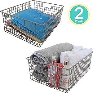 "Kitchen Basics 101 Large Farmhouse Metal Wire Storage Basket Bins with Handles 16"" x 12"" x 6"" Closets, Shelves, Cabinets, Bathrooms (Satin, 2)"