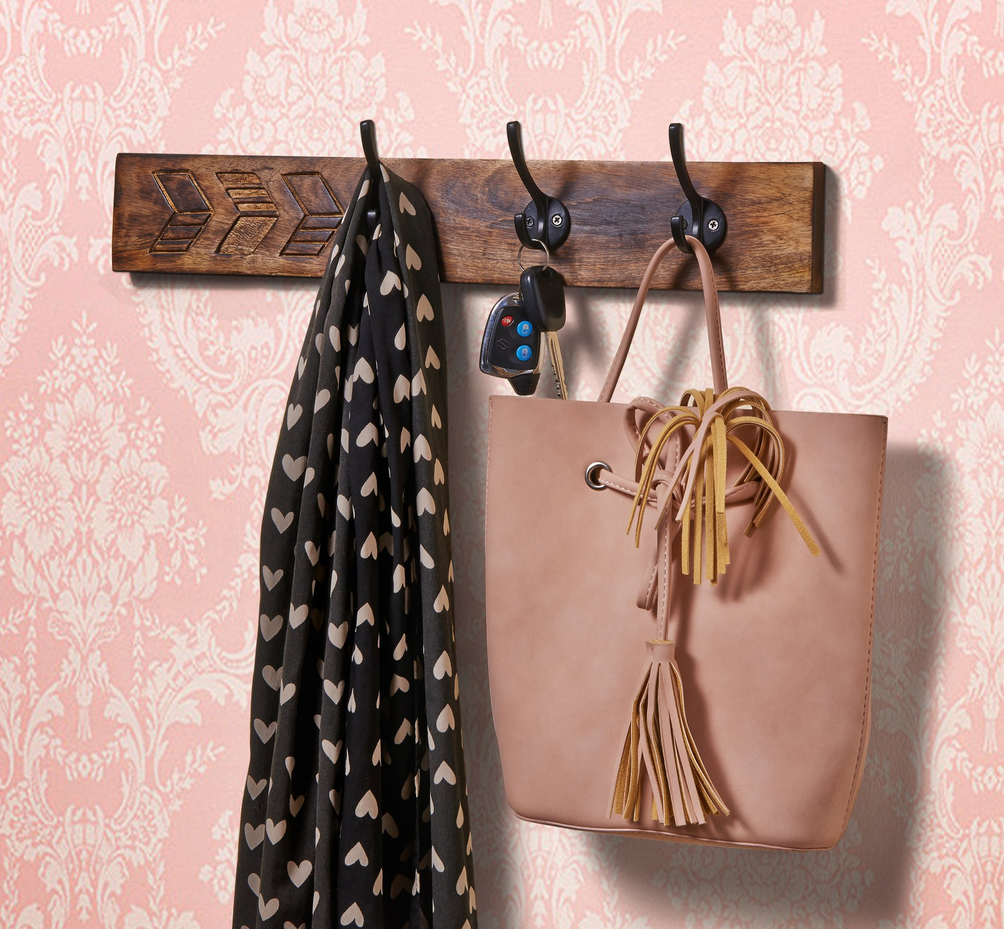 Mothers Day Gift Wooden Decorative Wall Hook Key Holders Organizer Hanger Rack Coat Hangers For Office & Home Decor - Mango wood (4)