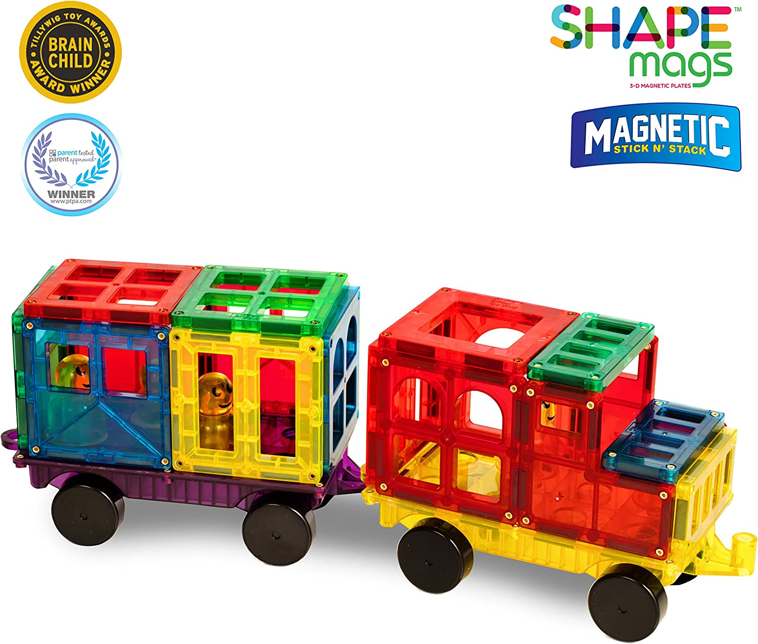4 Car Bases Included Magnetic Stick N Stack Award Winning 100 Piece Deluxe Car Accessories Set Made with Power+Magnets