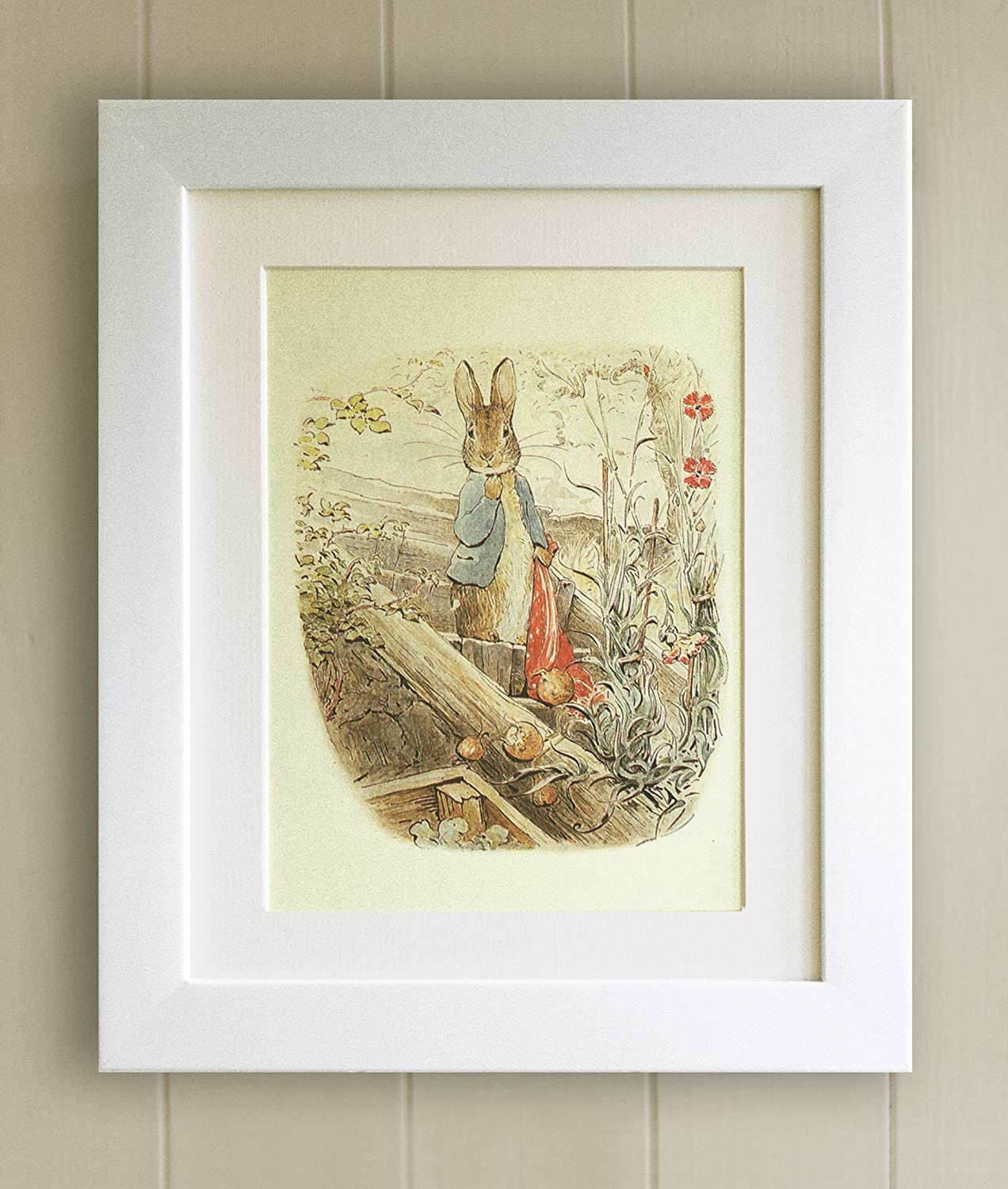 Beatrix Potter FRAMED PRINT, New Baby/Birth, Christening, Baby Shower, Nursery Picture Gift, Peter Rabbit and Friends (10