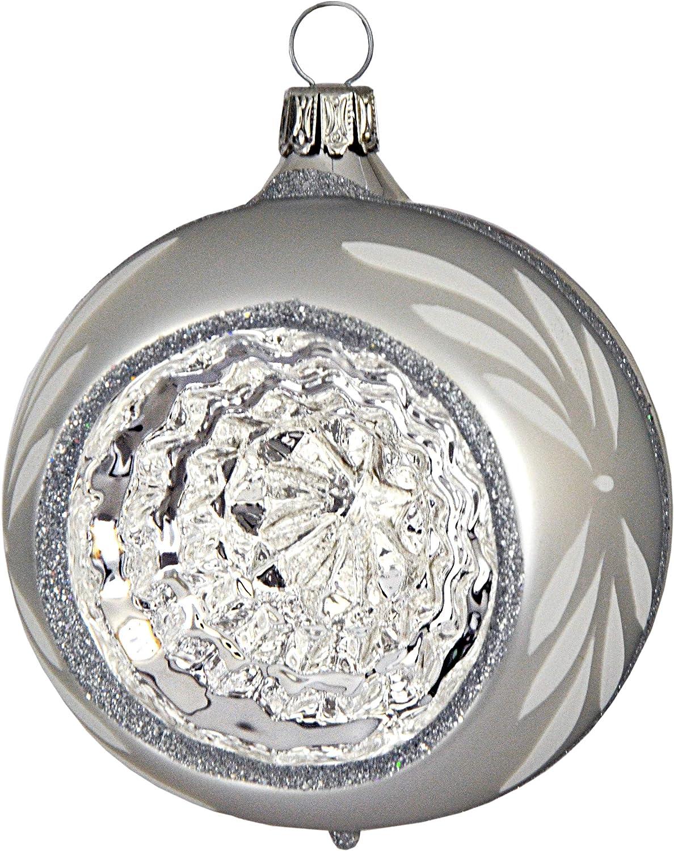 Jingle Bells Lauscha Christbaumkugel 8cm Reflex Wanda silber