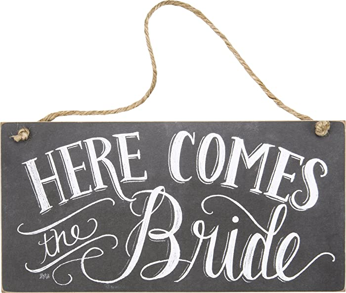 Primitives by Kathy Chalk Art Wedding Hanging Sign, 12 x 6-Inches, Here Comes The Bride