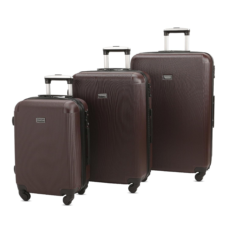 b8db5d5ee070 3 PC Luggage Set Durable Lightweight Hard Case pinner Suitecase  -LUG3-LY71-BROWN