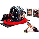 Multi Functional Ab Roller Wheel KIT with Resistance Bands, Kneepad, Guide, Workout Ebook. Abdominal Workout Wheel Roller with Large Double Wheels for Stability. Multi-Directional Ab Core Workout.