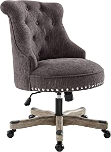 Linon Talia Charcoal Office Chair, Gray