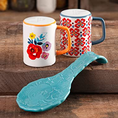 The Pioneer Woman Flea Market Stoneware ( Turquoise ) Spoon Rest & Salt And Pepper Set