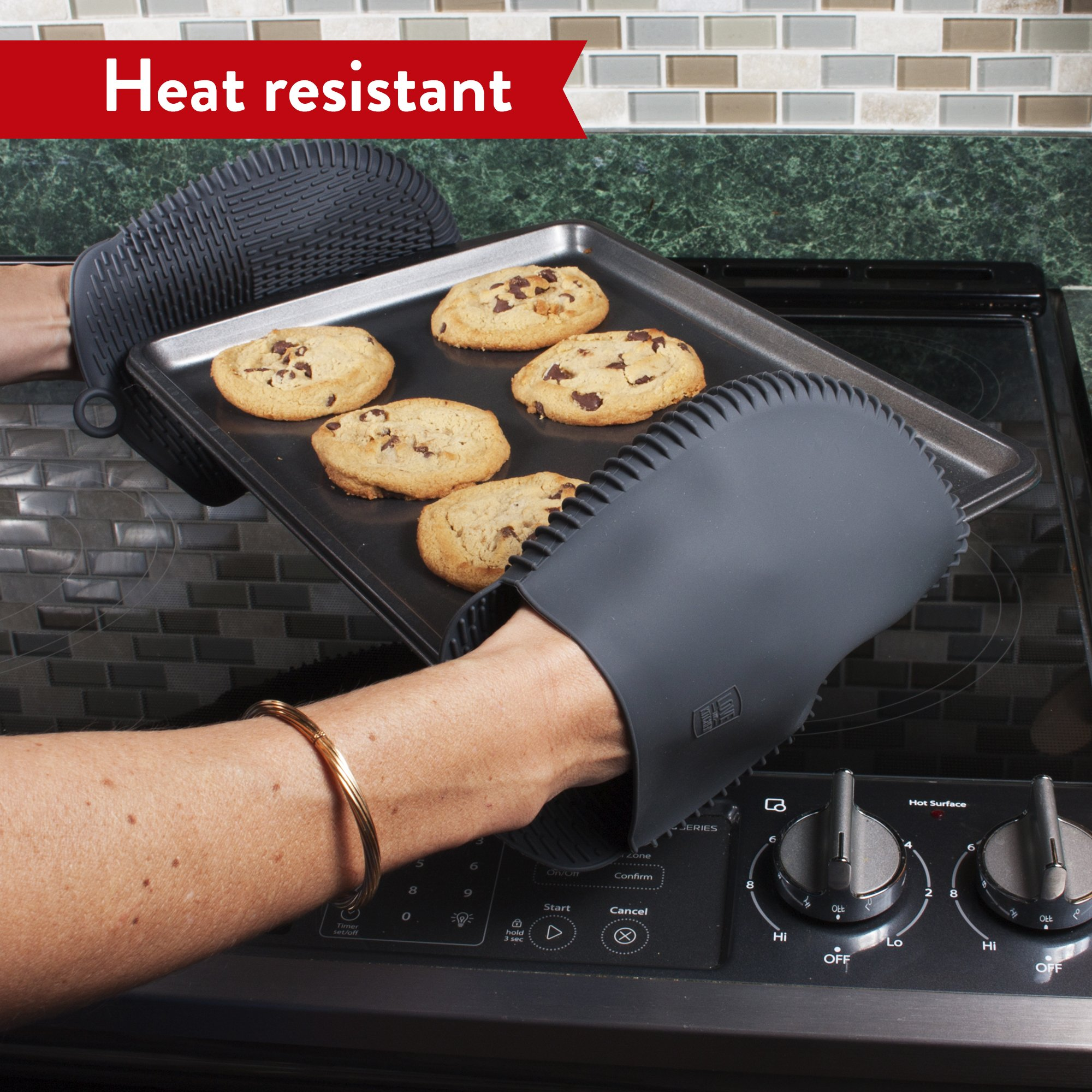 The Ultimate Pot Holders / Oven Mitts | 100% Silicone Mitt is Healthier Than Cotton & Easier to Clean, Won't Grow Mold or Bacteria | Unique Design Makes it Safe, Non-Slip & Flexible (Gray, Set of 2) by Love This Kitchen (Image #4)