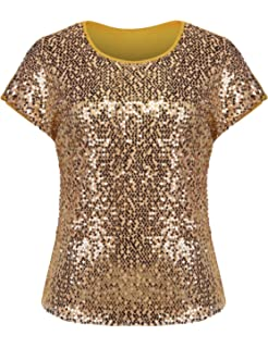65cd328fe413de IN'VOLAND Women's Sequin Tops Plus Size Round Neck Sparkle Top Shimmer  Glitter Short Sleeve
