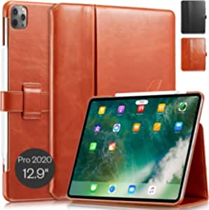 "KAVAJ Case Leather Cover London Works with Apple iPad Pro 12.9"" 2020 Cognac-Brown Genuine Cowhide Leather with Pencil Holder Supports Apple Pencil Slim Fit Smart Folio"