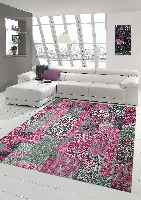Moderner Teppich Designer Teppich Orientteppich Wohnzimmer Teppich mit Karo Muster in Pink Grau Lila Größe 200 x 290 cm