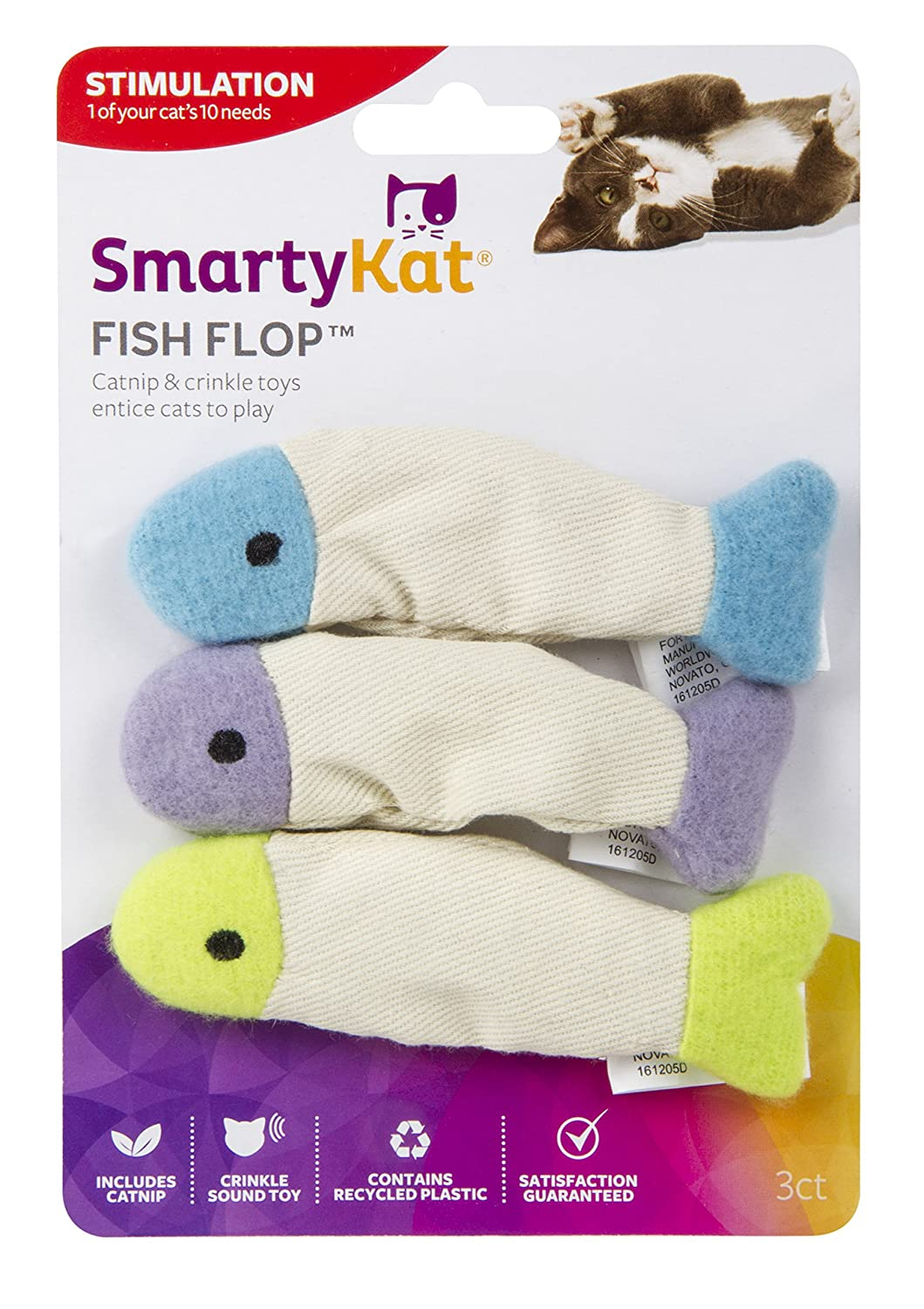 3 Toys per Package SmartyKat Fish Flop Cat Toy Catnip Crinkle Toys