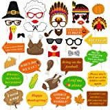 Konsait Thanksgiving Photo Booth Props Kit(42Pcs), Funny Turkey Day Photo Booth Accessories DIY Selfie Props Set with…