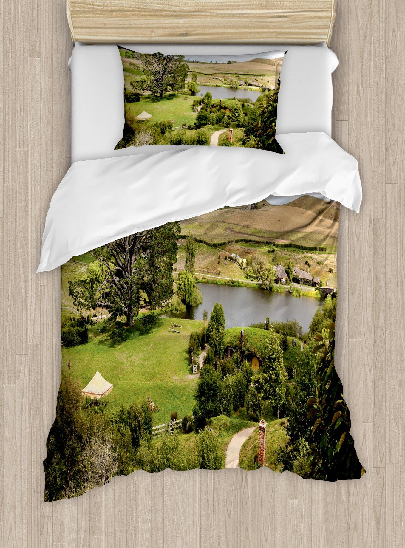 Ambesonne Hobbits Duvet Cover Set Twin Size, Overhill Matamata New Zealand Movie Set Hobbit Land Village Movie Set Image, Decorative 2 Piece Bedding Set with 1 Pillow Sham, Green Brown