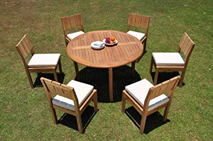52 Round Table.6 Seats 7 Pcs Grade A Teak Wood Dining Set 52 Round Table And 6