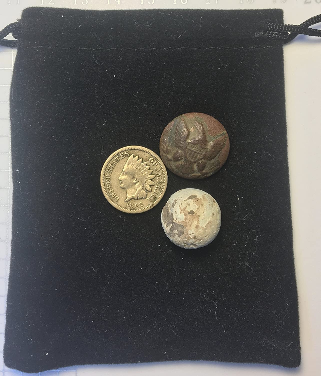 1865 Indian Head Civil war era Musket Ball and Uniform Button Comes In Gift Bag Artifacts Cent AG-G 1861 P