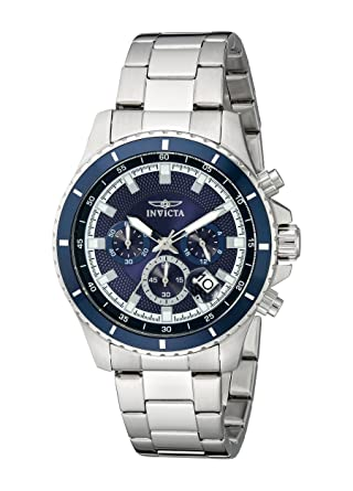 Invicta Mens 12455 Pro Diver Chronograph Dark Blue Textured Dial Stainless Steel Watch