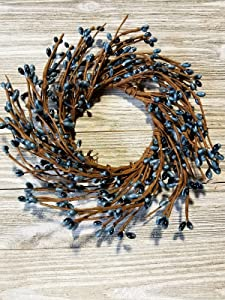 """MerdCraft Williamsburg Blue Candle Ring Country Primitive Floral Décor - Blueish Grey Pips - Perfect Candle Ring for 3"""" Pillars"""
