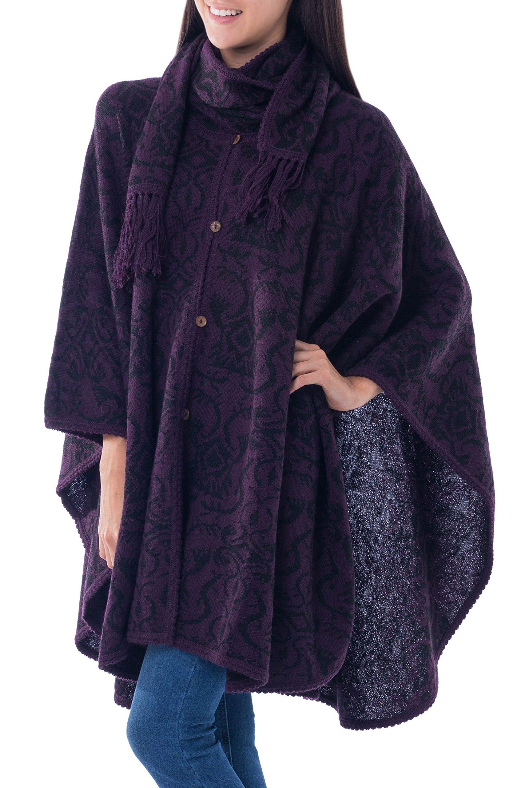 NOVICA Purple Alpaca Blend Ruana with Attached Scarf, 'Aubergine Arabesques'