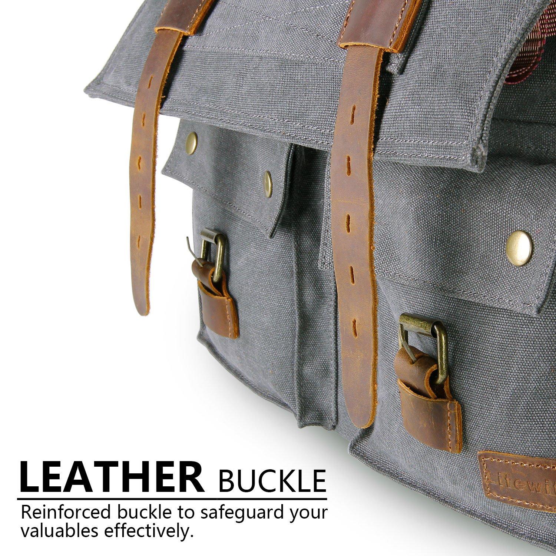 4c01dd6dcc83 Lifewit 15.6-17.3 Mens Messenger Bag Vintage Canvas Leather Military  Shoulder Laptop Bags