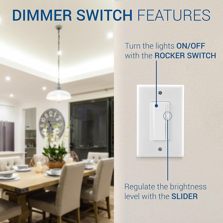Slide Dimmer Light Switch Decorator Rocker 3 Way 150W LED //CFL 700W Incandescent