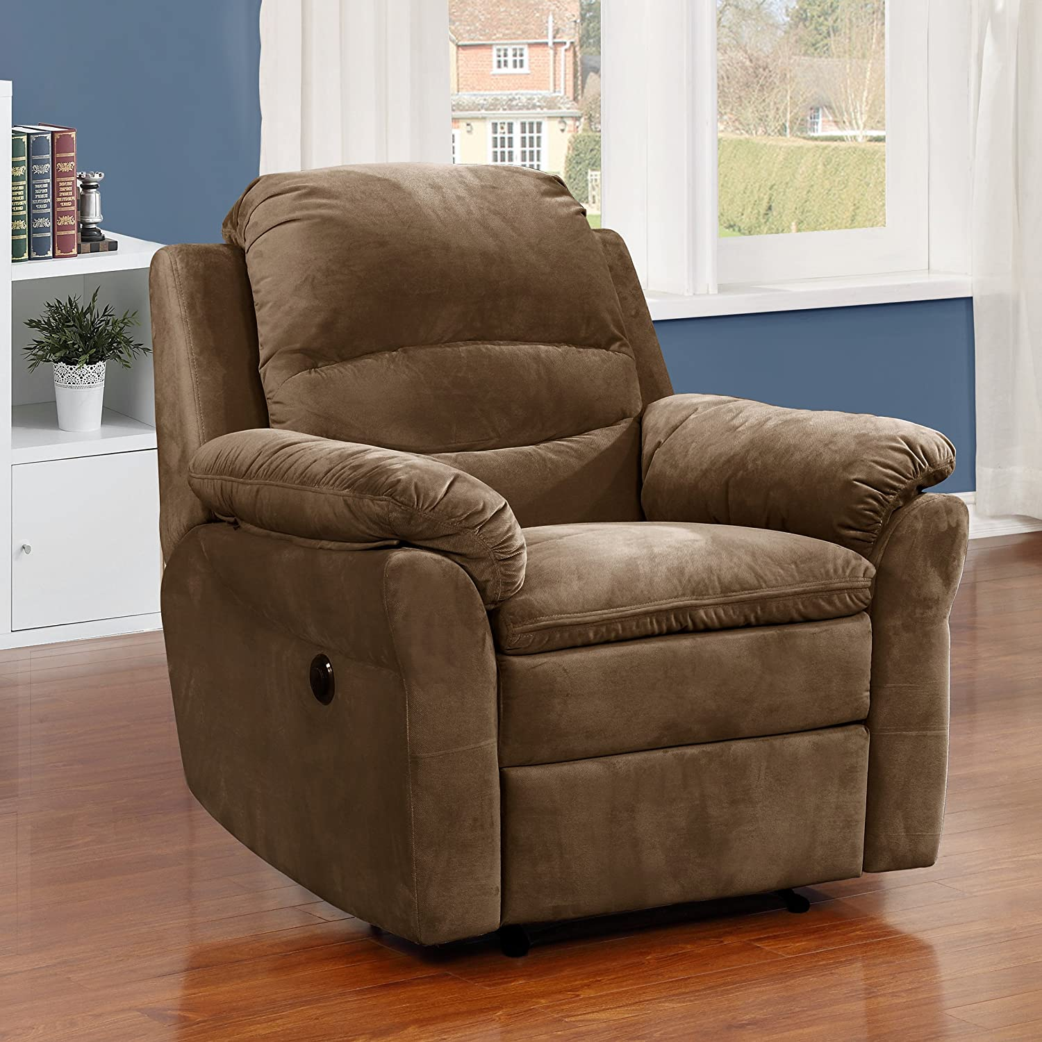 Stupendous Ac Pacific Felix Collection Contemporary Style Fabric Upholstered Living Room Electric Recliner Power Chair Brown Machost Co Dining Chair Design Ideas Machostcouk