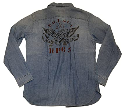 dfb5c767 Image Unavailable. Image not available for. Color: Ralph Lauren Polo Mens  Jean Denim Vintage Moto Eagle Casual Shirt Blue Red Large