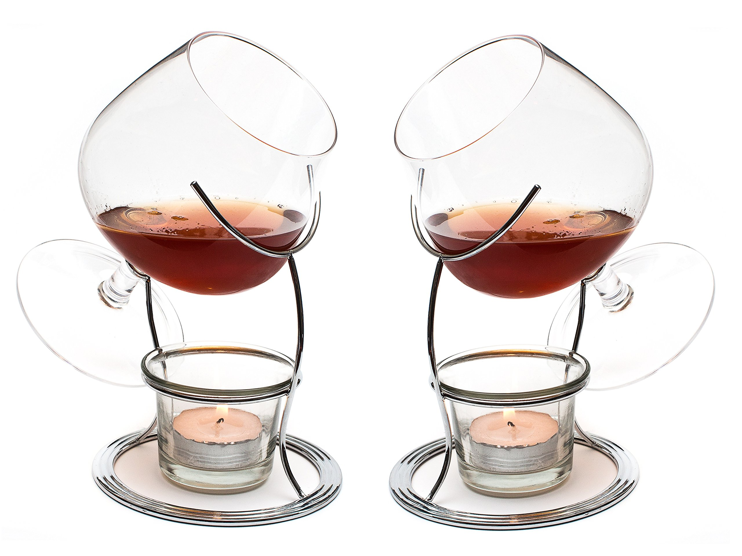 CKB Ltd Set Of 2 Brandy & Cognac Snifter Warmer Glasses Stand Gift Set With Tealight Candle & Crome Holder - Drinking Double Pack Set