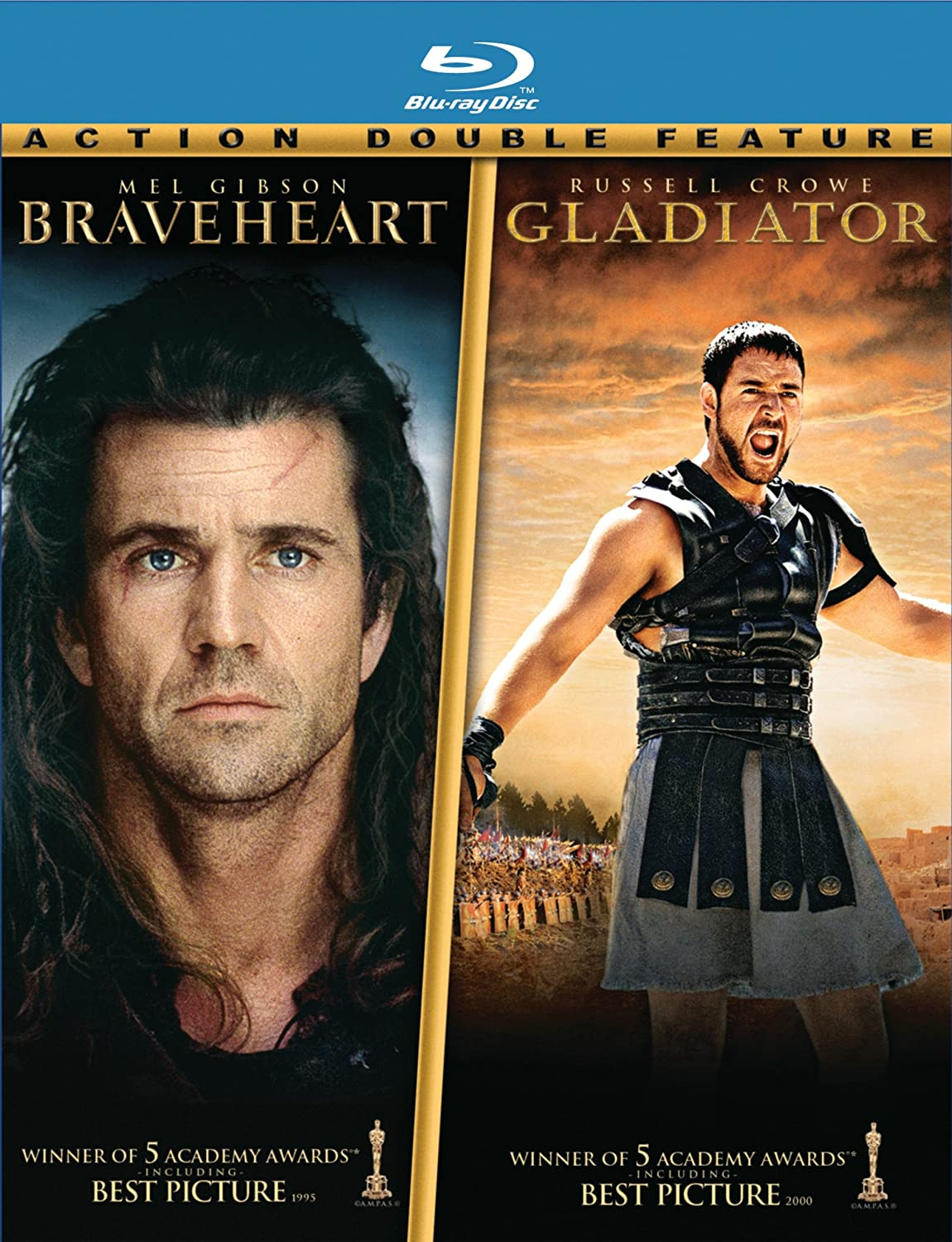 Amazon.com: Braveheart / Gladiator (Two-Pack) [Blu-ray]: Russell Crowe,  Joaquin Phoenix, Connie Nielsen, Mel Gibson, Sophie Marceau, Patrick  McGoohan, ...