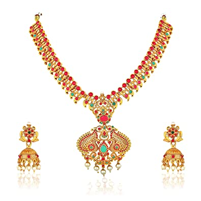 753970ad7 Buy Meenaz South Indian Temple Jewellery Peacock Laxmi Gold ...