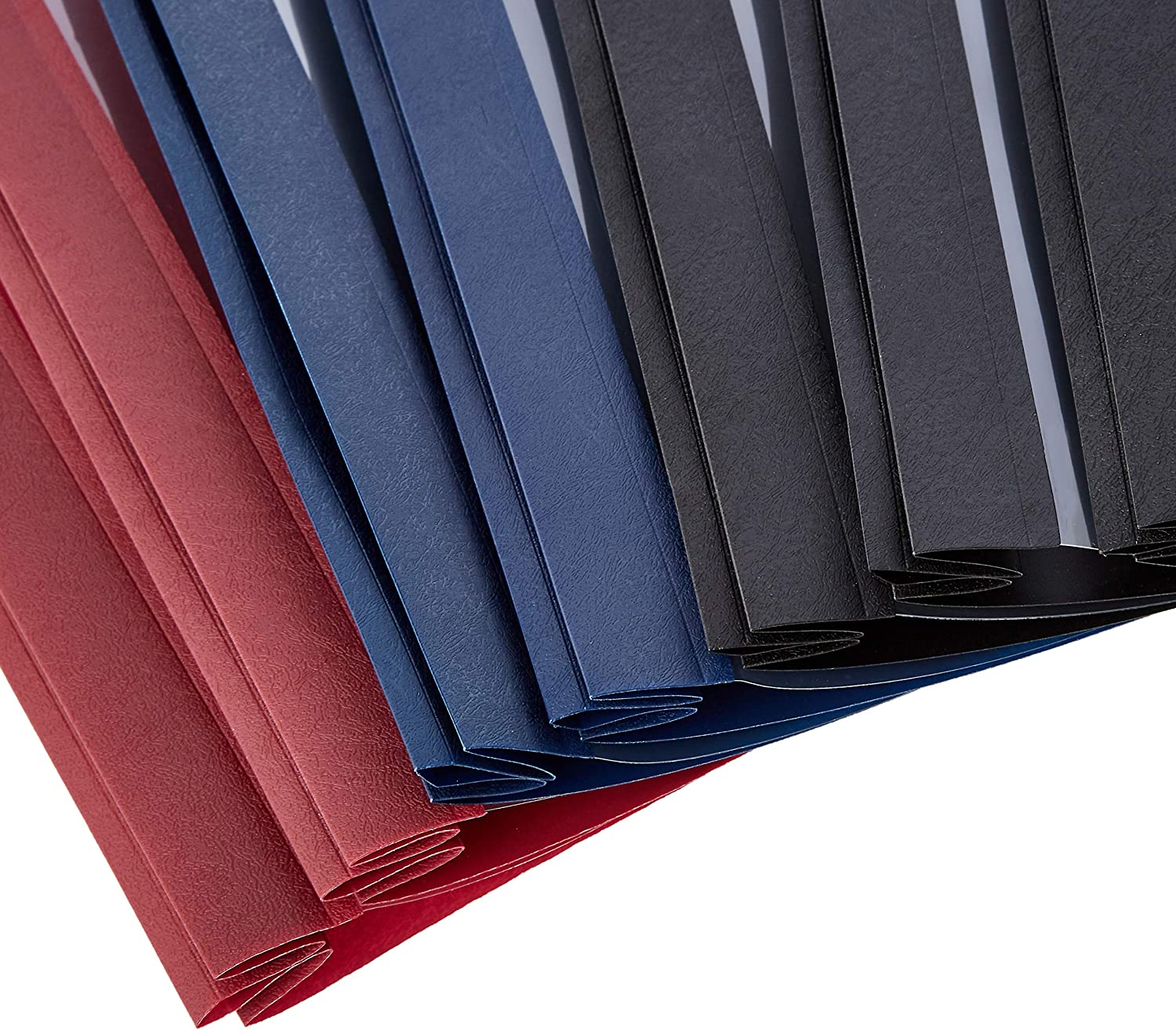 Assorted Black 25-Pack Navy and Red Basics Letter Size Clear Front Textured Poly Report Cover with Metal Prong