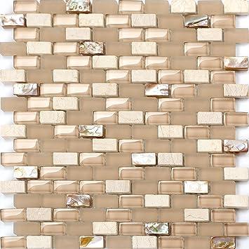 Perlmutt Glas Und Naturstein Mosaik Fliesen Matte Mit Ziegelstein - Fliesen in ziegelstein optik