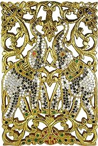 Elephant Gilded Gold-Tone Leaf Mosaic Carved Raintree Wood Wall Art - Fair Trade Handicraft by Thai Artisans