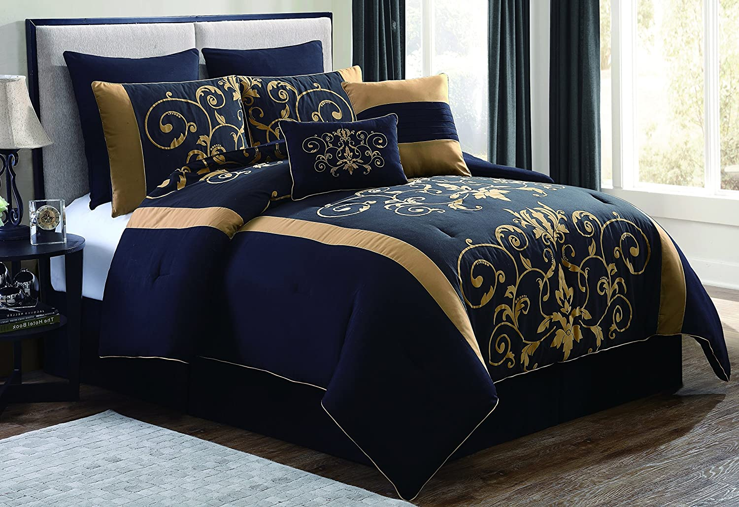 Geneva Home Fashion 8 Piece Cassandra Flocked Comforter Set Queen