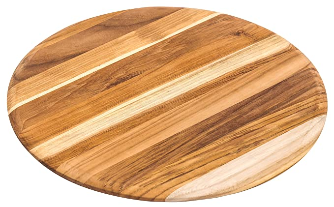 Teakhaus Giant Cutting and Serving Board - Large Round Teak Woods Carving Board - Slim and Lightweight (13x13)