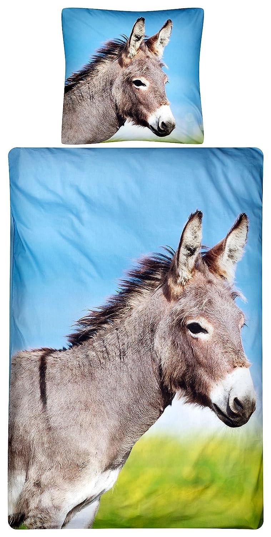 Aminata Kids – bunte Bettwäsche á 135x200 cm Kinder Mädchen Jungen Tier Esel Baumwolle + Reißverschluss Kinderbettwäsche Fotodruck Donkey Zootier Bauernhof Bettwäscheset Bettbezug