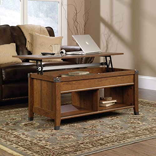Wooden Lift Top Coffee Table w/Hidden Compartment and Storage Shelves