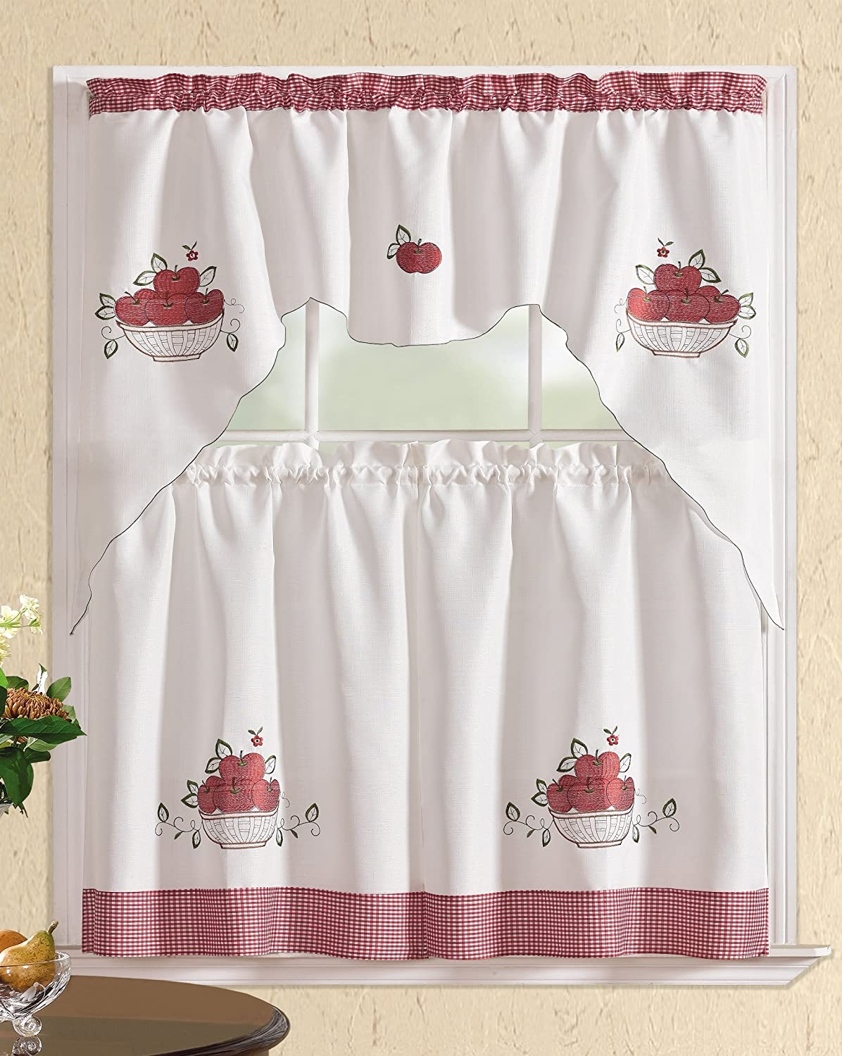 60X36//30X36 All American Collection New 3pc Attached Embroidered Kitchen Curtain Set with Tie Backs Yellow