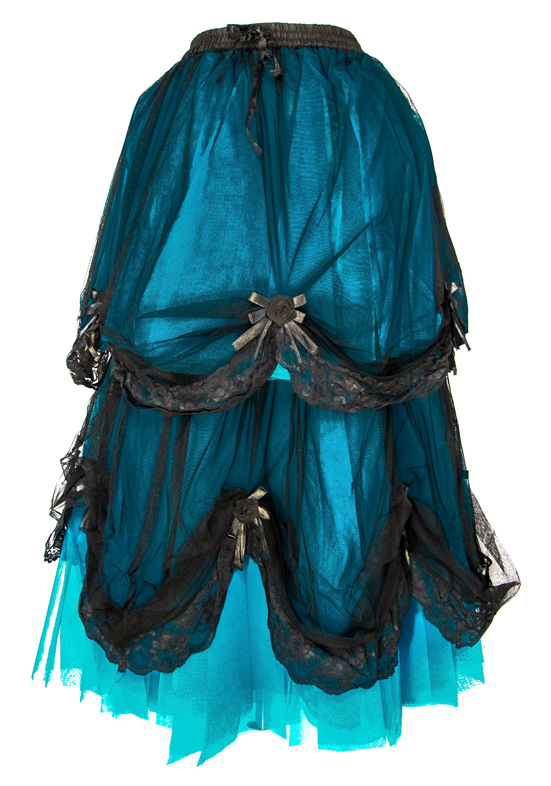Dark Star Long Black Blue Satin Rose Gothic Medieval Fairytale Skirt S-2X Plus Size (FITS M2X)