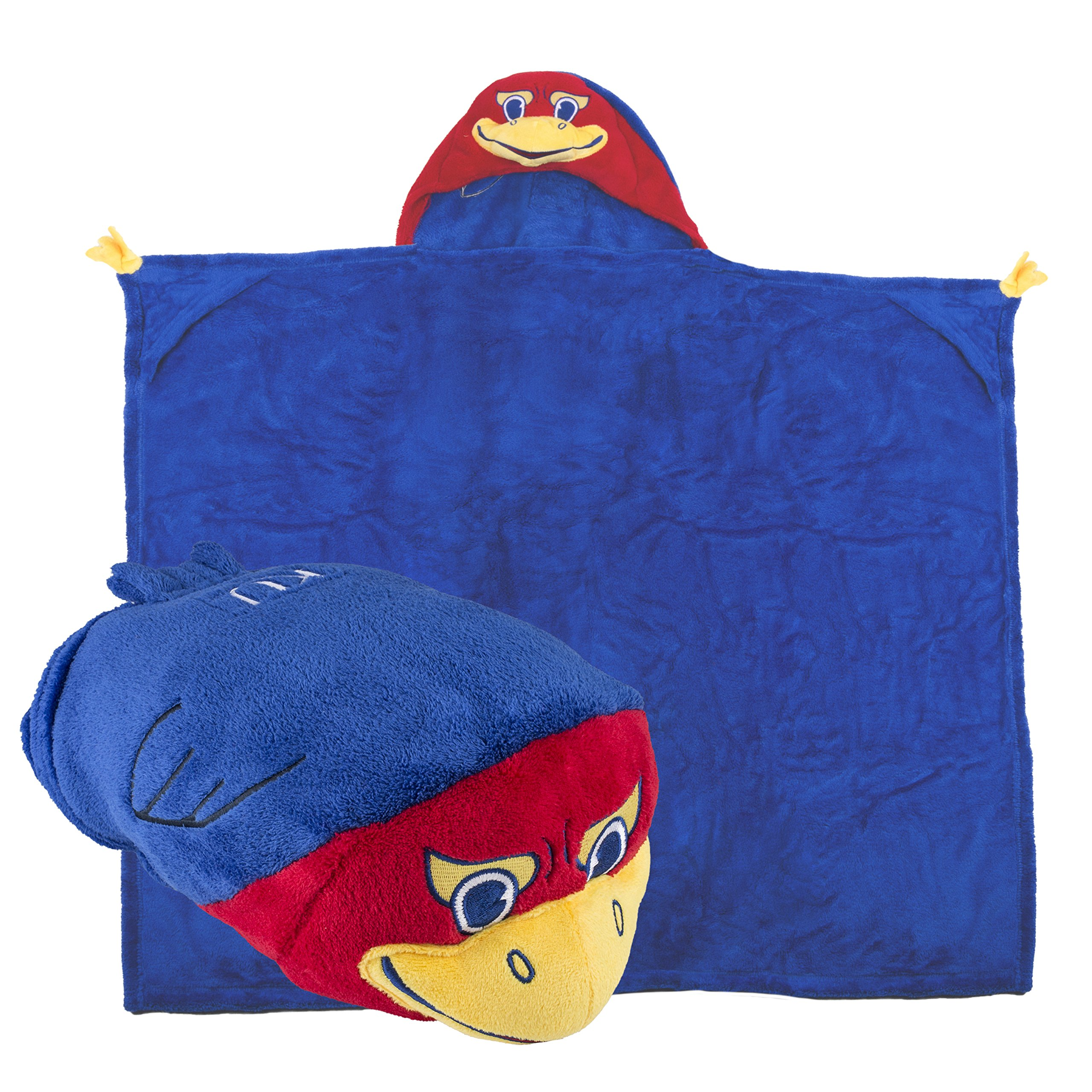 Comfy Critters Stuffed Animal Blanket - College Mascot, University of Kansas 'Big Jay' - Kids huggable pillow and blanket perfect for the big game, tailgating, pretend play, travel, and much more
