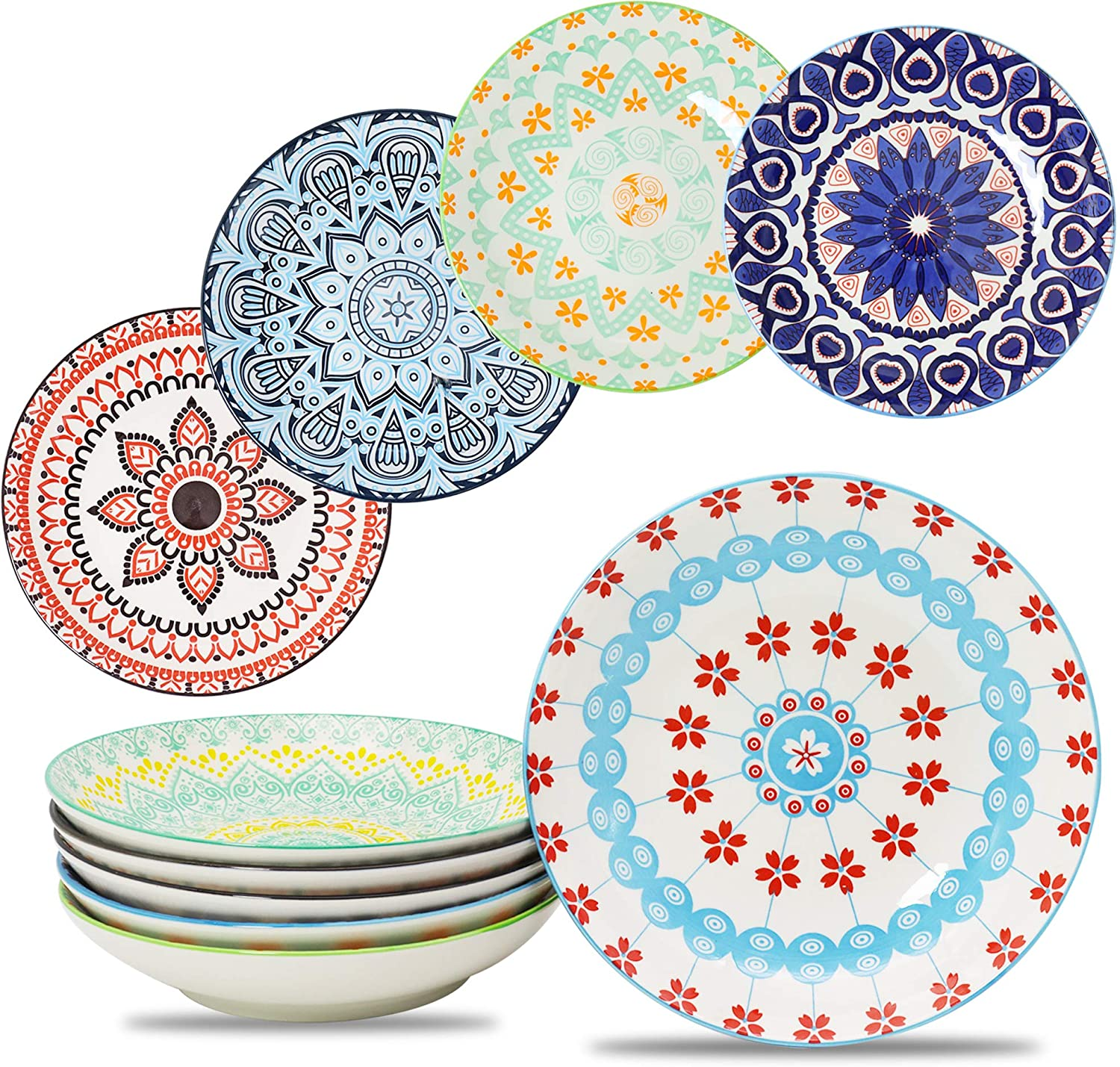 Farielyn-X Large Salad Pasta Bowls Set of 6, Wide and Shallow Porcelain Dinner Bowl/Dishes, 27 oz Assorted Patterns Serving Plates and Bowls for Pasta, Salad, Cereal, Soup, Microwave & Dishwasher Safe