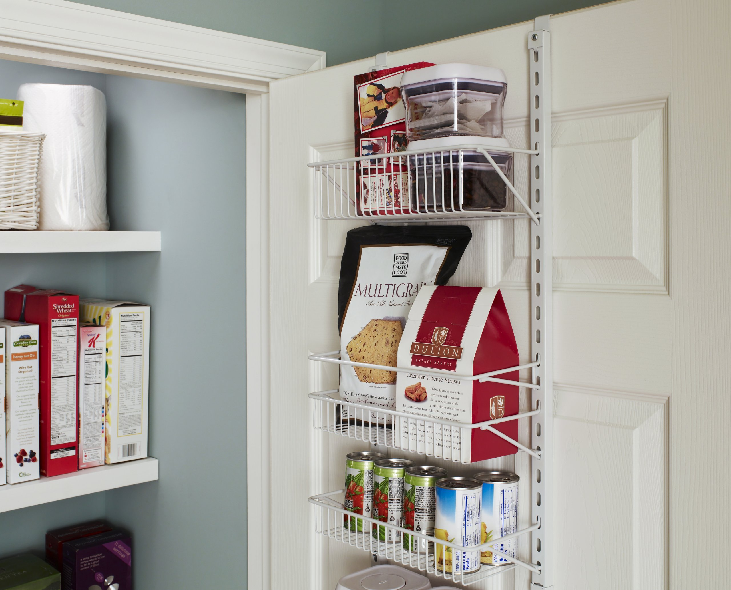 Closetmaid adjustable 8-tier wall and door rack 5 store and organize items of various sizes. Easily reposition baskets to accommodate tall and short items. Close wire spacing on baskets keeps items from tilting. Wall and over-the-door solution is perfect for kitchen and pantry organization.