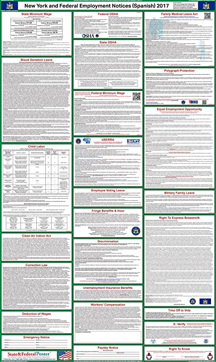 Amazon 2017 spanish new york state and federal labor law 2017 spanish new york state and federal labor law poster laminated 24quot sciox Images